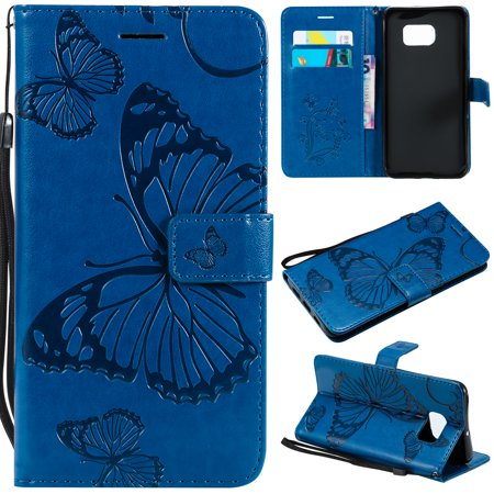 S7 Edge Case, Samsung Galaxy S7 Edge Case - Allytech Premium Wallet PU Leather with Fashion Embossed Floral Butterfly Magnetic Clasp Card Holders Flip Cover with Hand Strap,