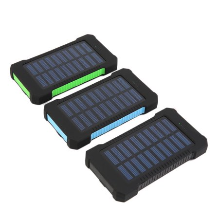 300000Mah Portable Solar Panel Dual Usb External Battery Power Bank Charger  Black And Blue