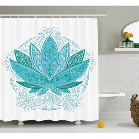Lotus Shower Curtain Lotus Flower With Ornaments Ethnic Exotic