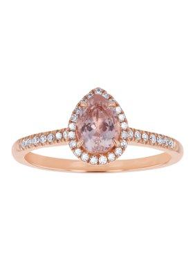 14k Rose Gold Pear Shaped Morganite and Diamond Halo Vintage Engagement Ring (H-I, SI2-I1)