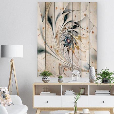 Stuart Stained Glass Print (DESIGN ART Designart 'White Stained Glass Floral Art' Floral Print on Natural Pine Wood - White)