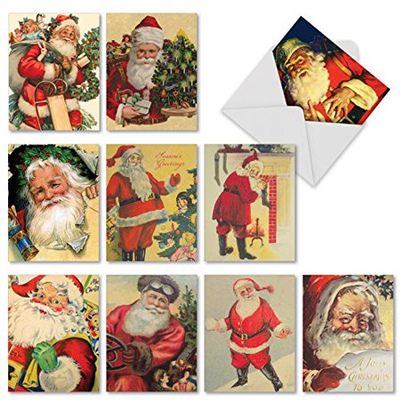 'M3280 SANTIQUES' 10 Assorted All Occasions Greeting Cards Featuring Retro Images Of Jolly Ol' St. Nick with Envelopes by The Best Card (Best Ol In Nfl)