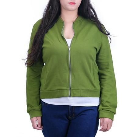- HDE Women's Zip Up Sweatshirt Plus Size Classic Short Coat Retro Baseball Jacket (Green, 2X)