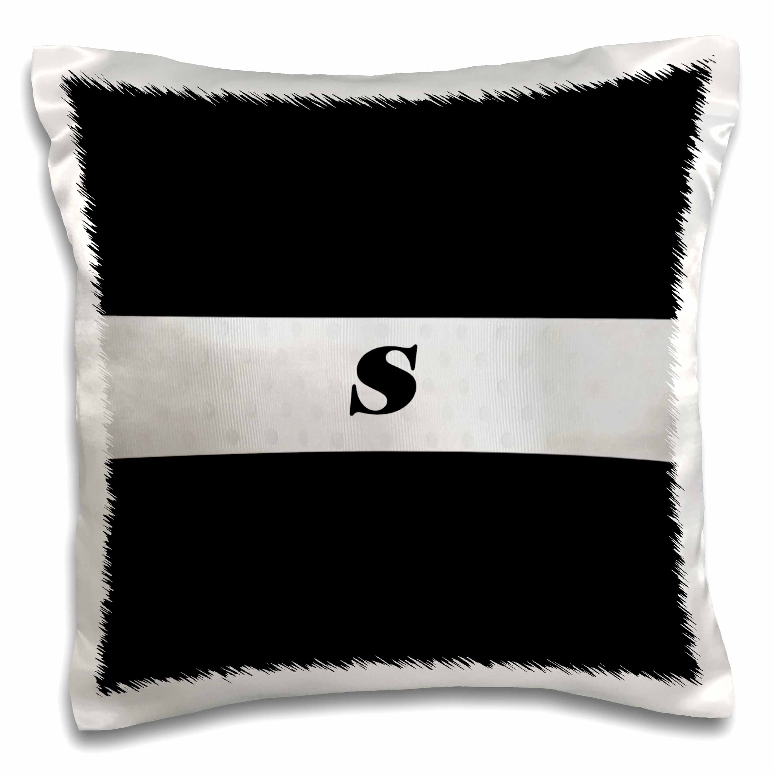 3dRose Black n Silver Monogram Letter S, Pillow Case, 16 by 16-inch