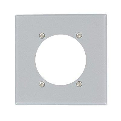 Leviton S701-GY 2-Gang Power Receptacle Wallplate, Flush Mount, Standard Size, Device Mount, Steel-Aluminum Finish