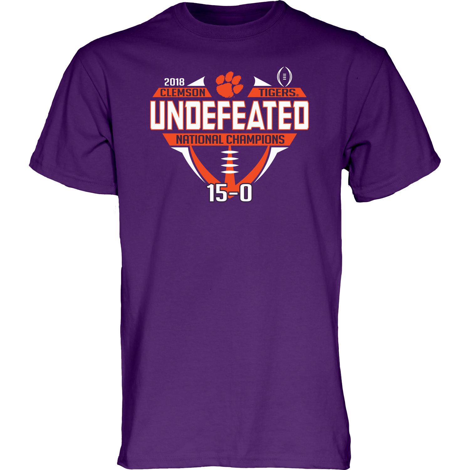Clemson Tigers 2018-2019 Football National Champions Purple Undefeated T-Shirt