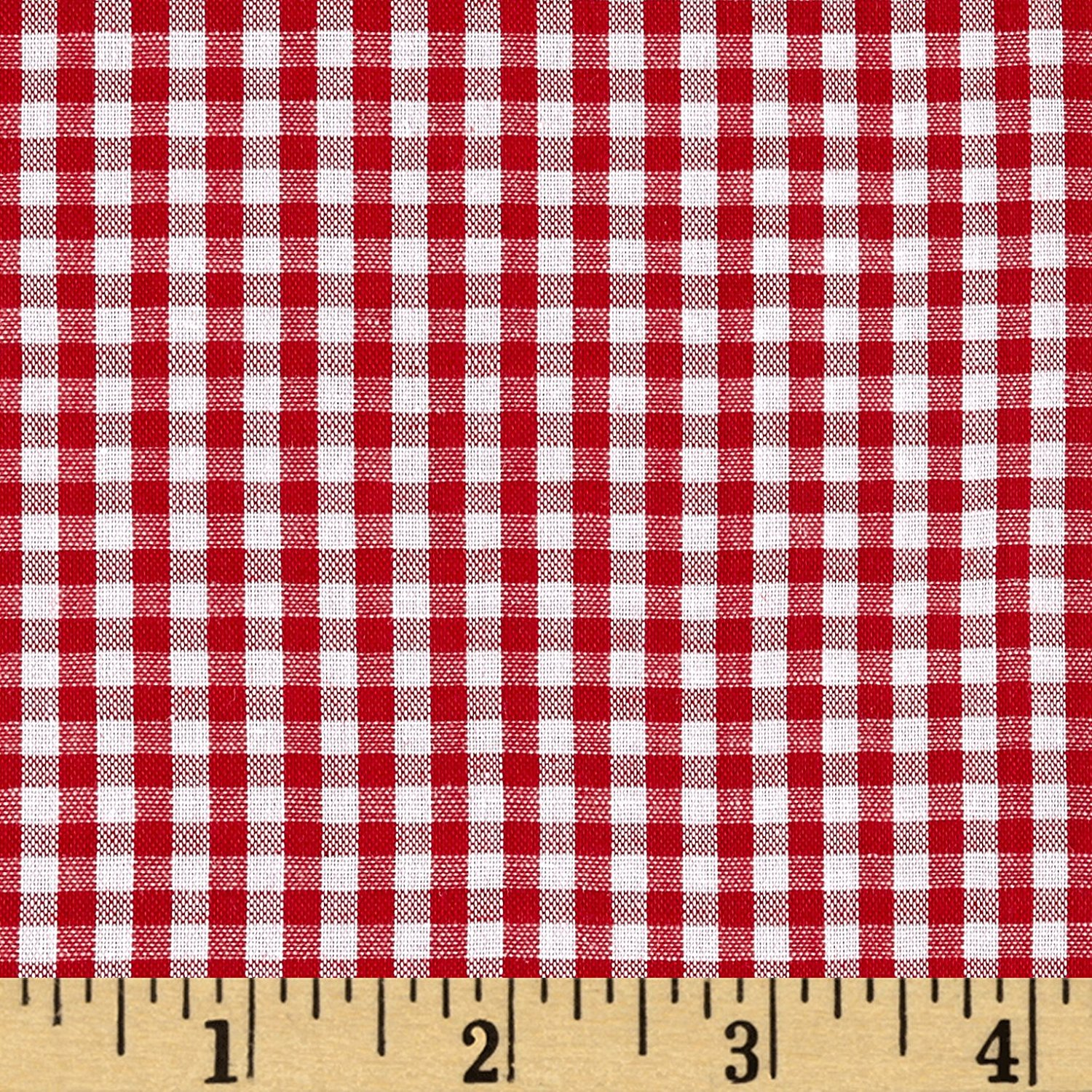 Wide Width 1/8in Gingham Check Red/White Fabric By The Yard, Gingham By Richland Textiles