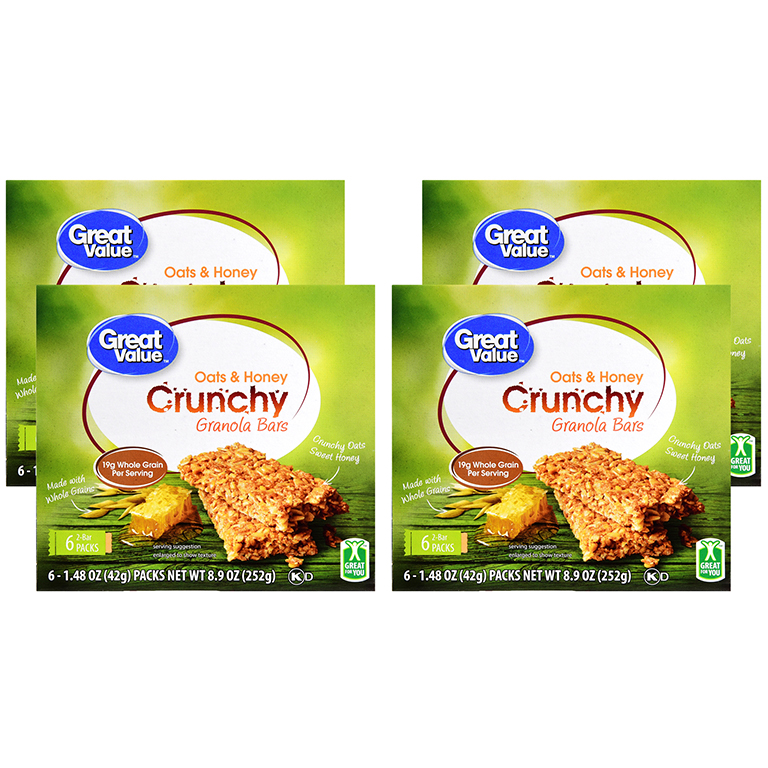(4 Pack) Great Value Crunchy Granola Bars, Oats & Honey, 1.4 oz, 6 Count