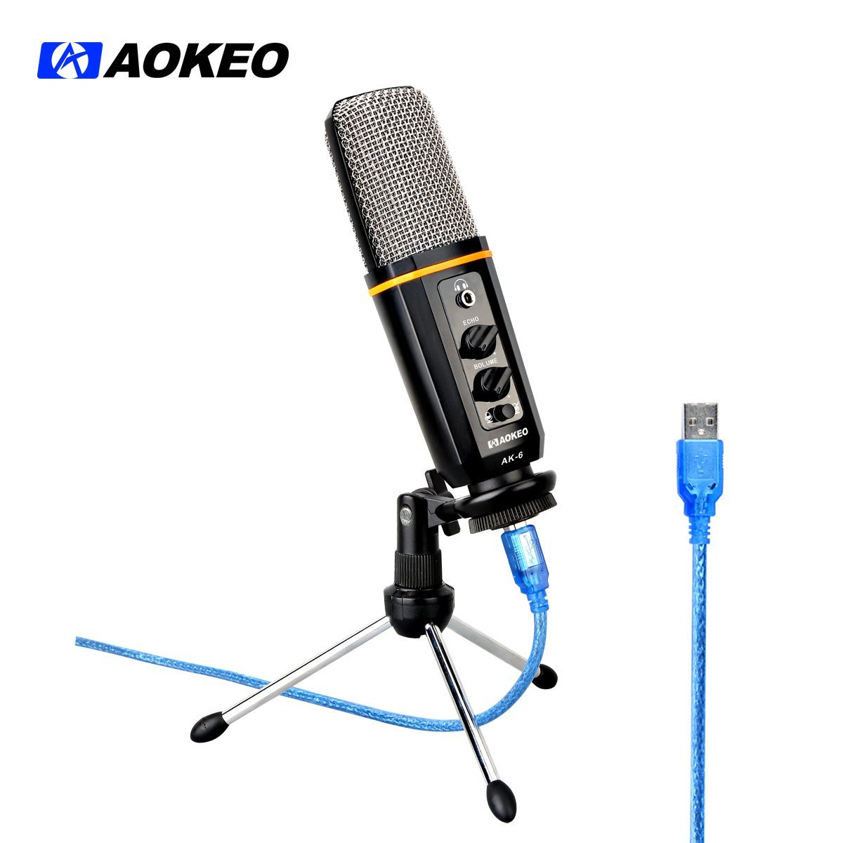 Aokeo AK-6 Desktop USB Condenser Microphone, Stereoscopic Podcast Broadcasting Mic with... by aokeo