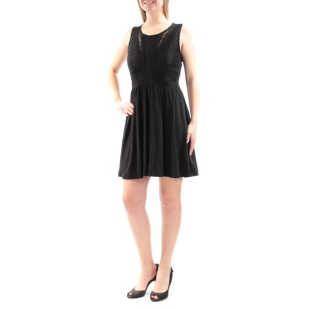 MARILYN MONROE Womens Black Lace Sleeveless Jewel Neck Above The Knee Fit + Flare Dress Juniors  Size: M](Marilyn Monroe Dresses)