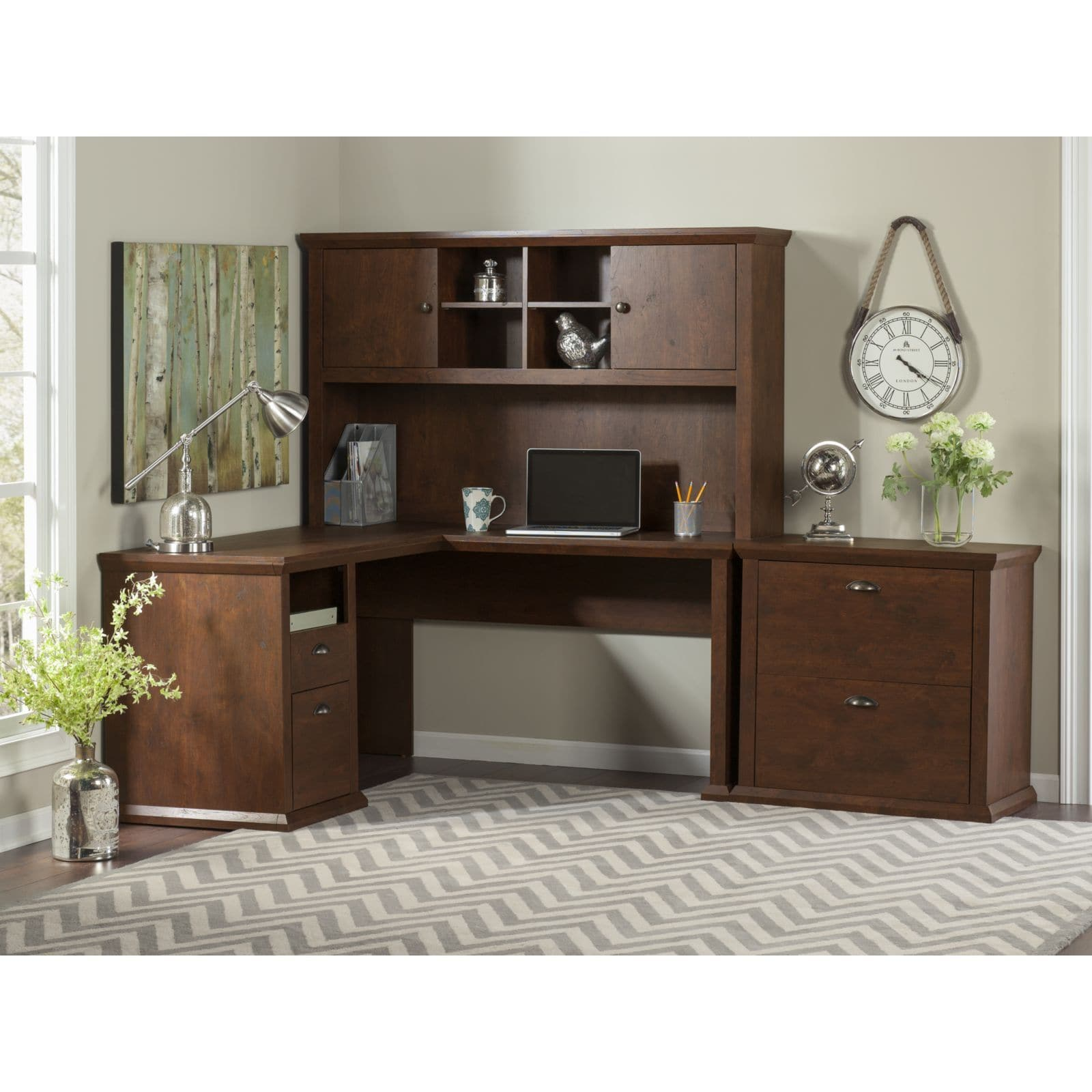 Bush Furniture Yorktown L Shaped Desk with Hutch and Lateral File Cabinet