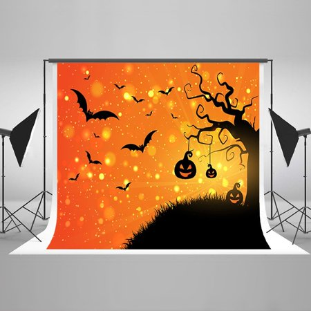 HelloDecor Polyster 7x5ft Halloween Party Photograph Backdrops Bat Pumpkin Tree Children Newborn Background Backdrops for Baby Photo Studio