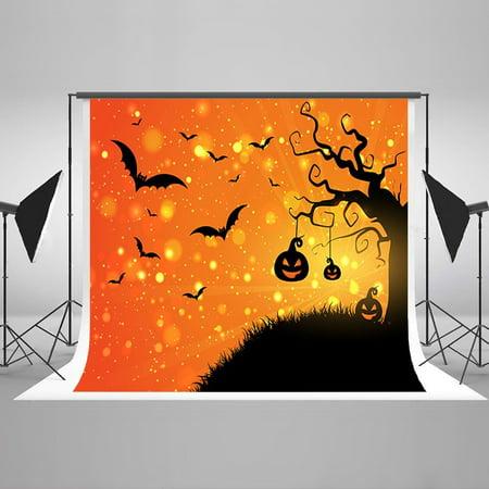 HelloDecor Polyster 7x5ft Halloween Party Photograph Backdrops Bat Pumpkin Tree Children Newborn Background Backdrops for Baby Photo Studio (Bts Halloween Photos)