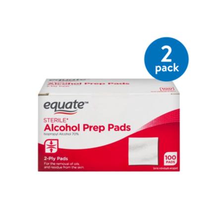 (2 Pack) Equate Sterile Alcohol Prep Pads, 100 Ct