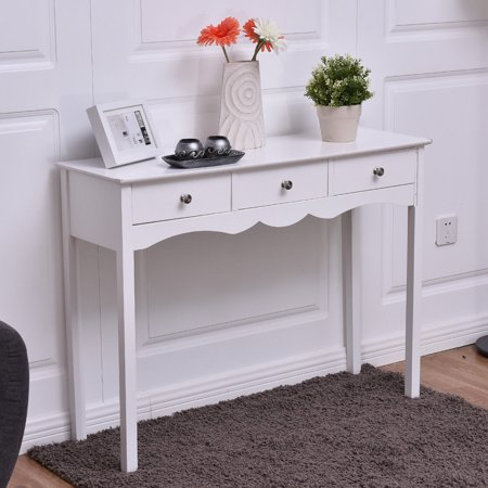 Deck Console - Costway Console Table Hall table Side Table Desk Accent Table 3 Drawers Entryway White