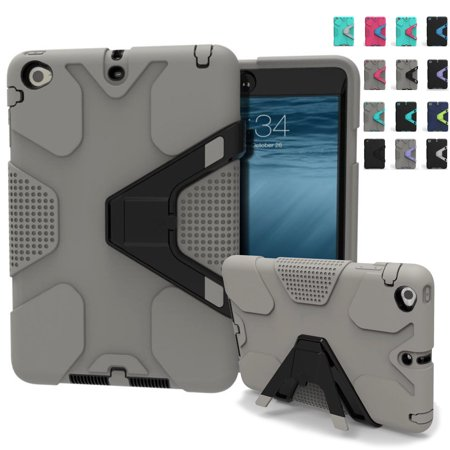 Dteck For Apple iPad Mini1/2/3 Protective Built-in Kickstand New Kid Shockproof Heavy Duty Rugged Rubber Gray +