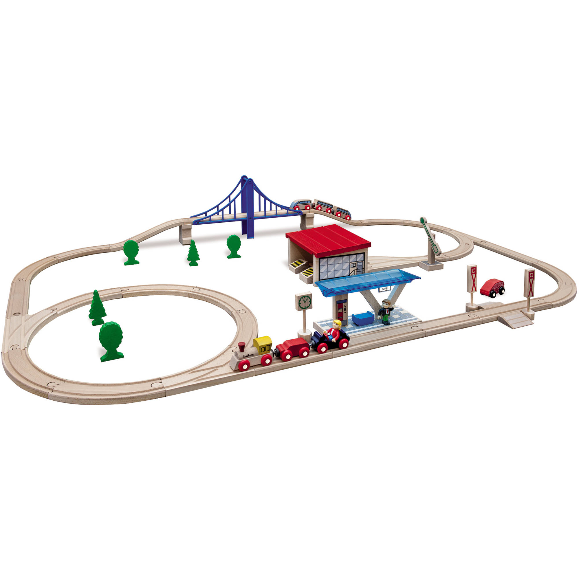 Eichhorn 58-Piece Large Wooden Train Set