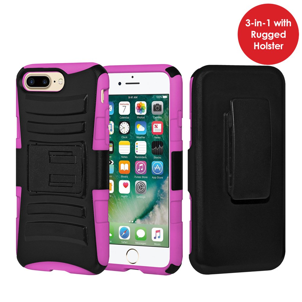 iPhone 7 Plus Case Tempered Glass Combo Kit, Rugged TUFF Hybrid Dual Layer Hard Defender Case with Belt Clip Holster and Premium Protective Shockproof Screen Guard for iPhone 7 Plus, Black/ Hot Pink
