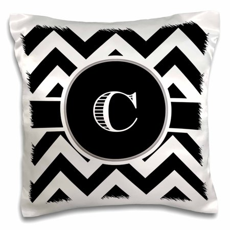 3dRose Black and white chevron monogram initial C, Pillow Case, 16 by 16-inch ()