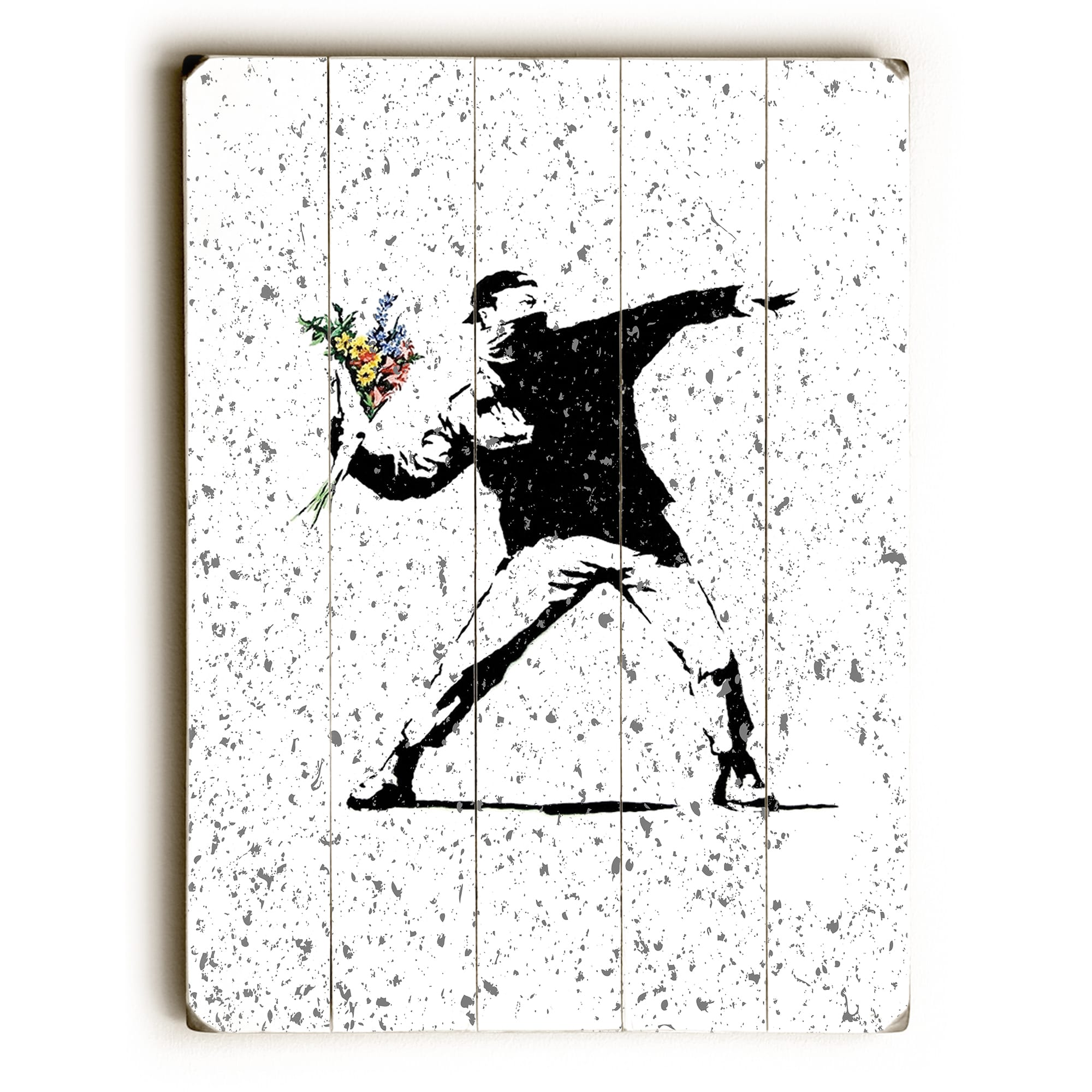 One Bella Casa 75357PW3040 30 x 40 in  Rage Flowers Textured Planked Wood  Wall Decor by Banksy, White