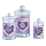 Lavender Glass Bathroom Apothecary Jar Set with Lids