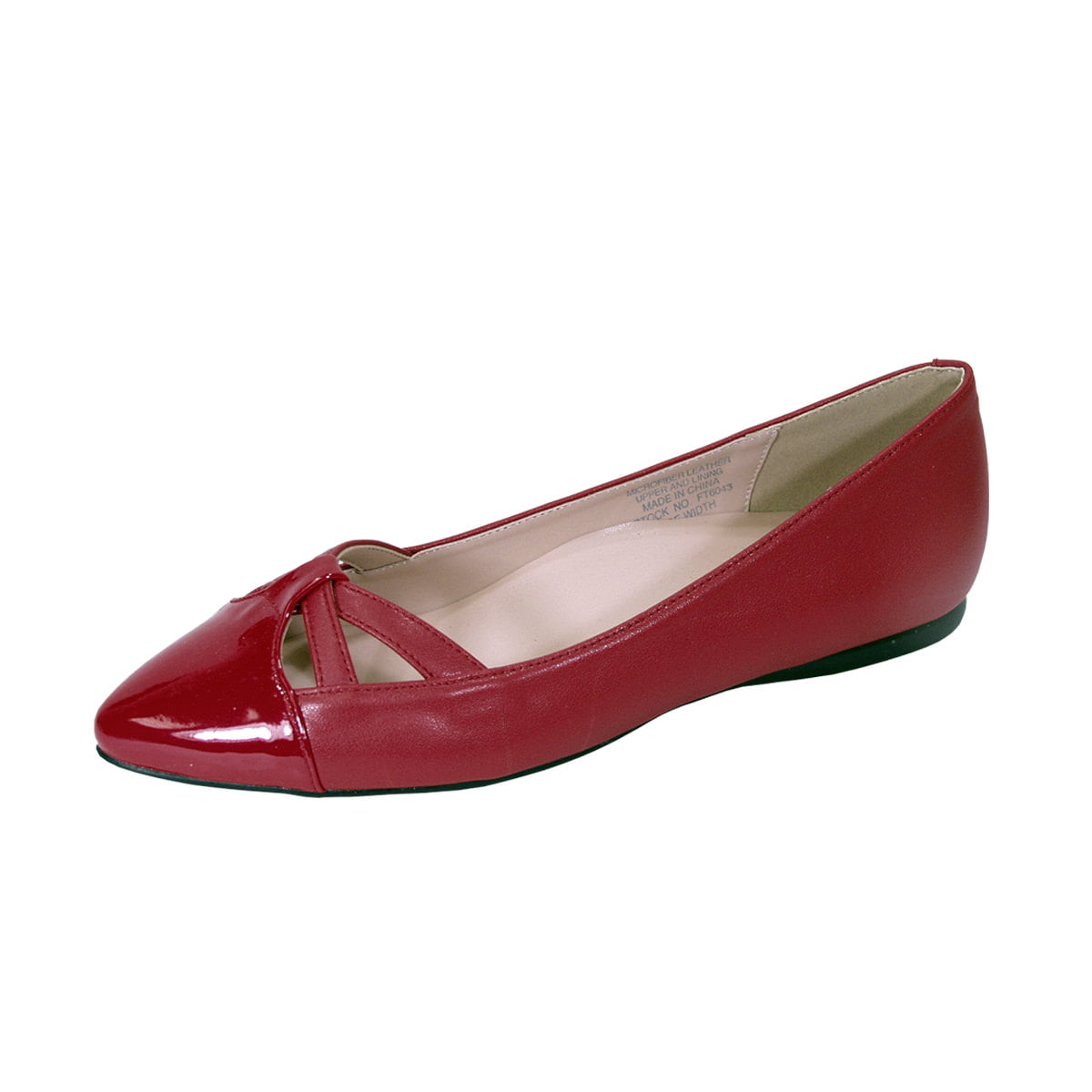 Women Wide Width Pointed Toe Flats RED