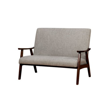 Benzara Fabric Upholstered Loveseat with Wooden Curved Arms and Slanted Feet, Light Gray and Brown