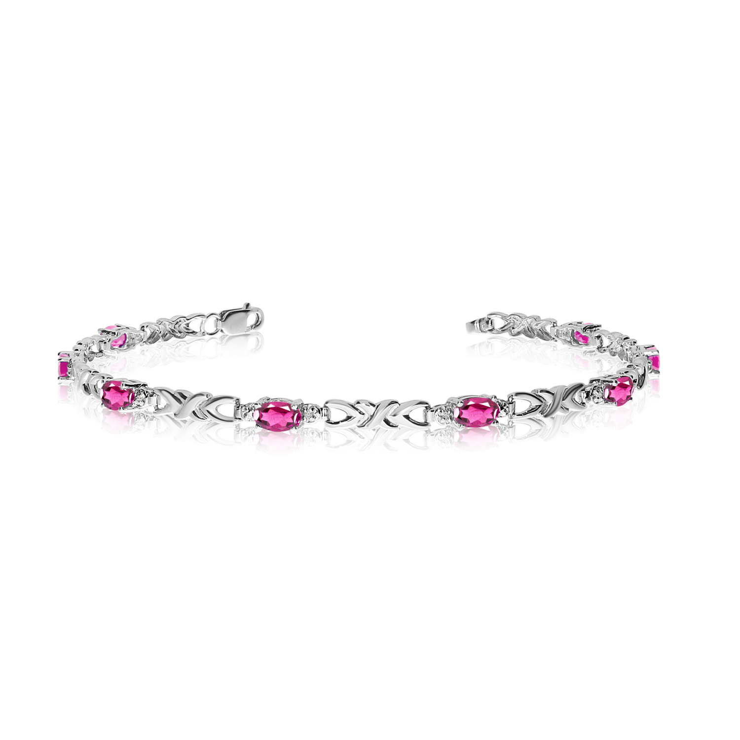 10K White Gold Oval Pink Topaz and Diamond Bracelet by