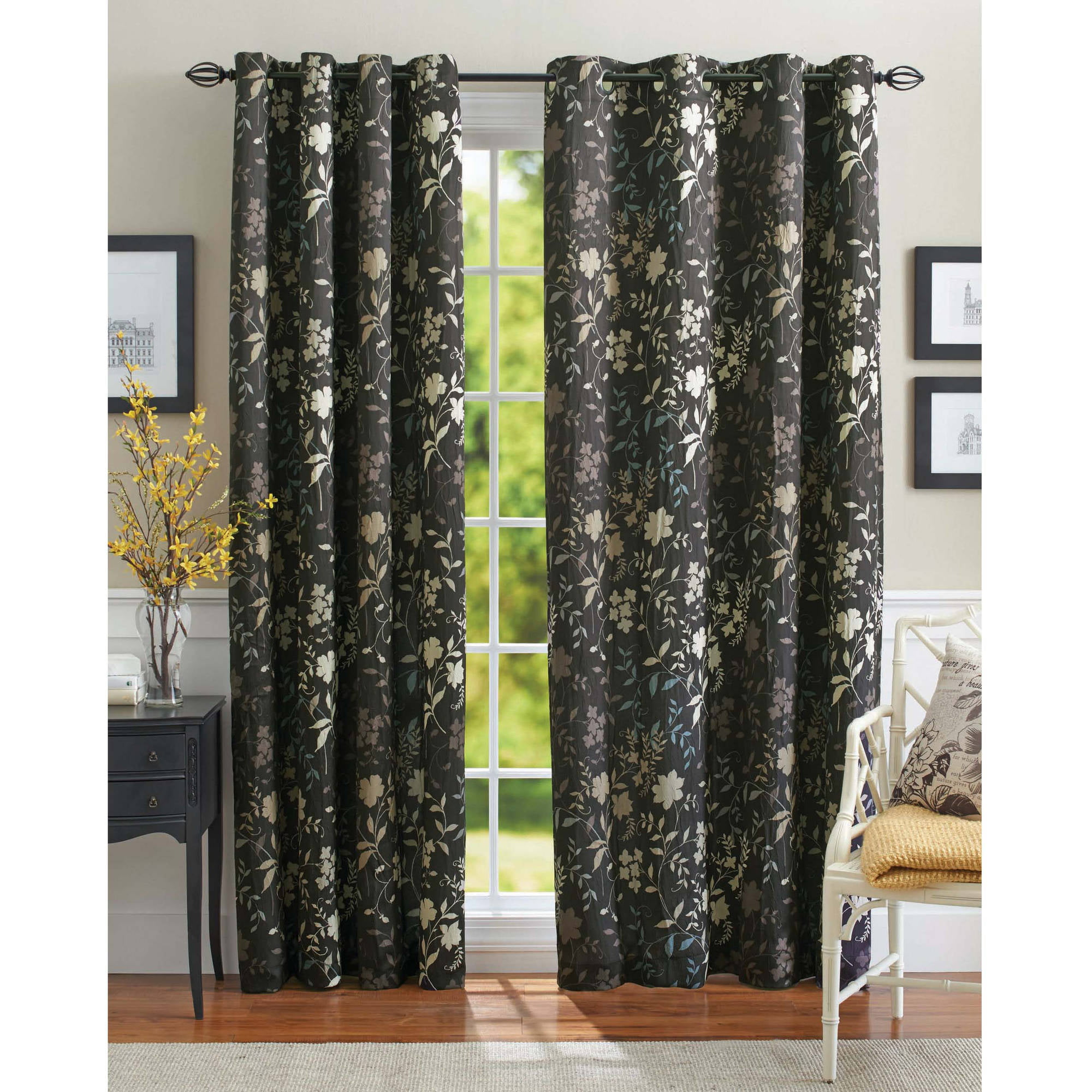 Walmart Curtains For Living Room Delancey Metallic Print Sheer Grommet Window Panel  Walmart
