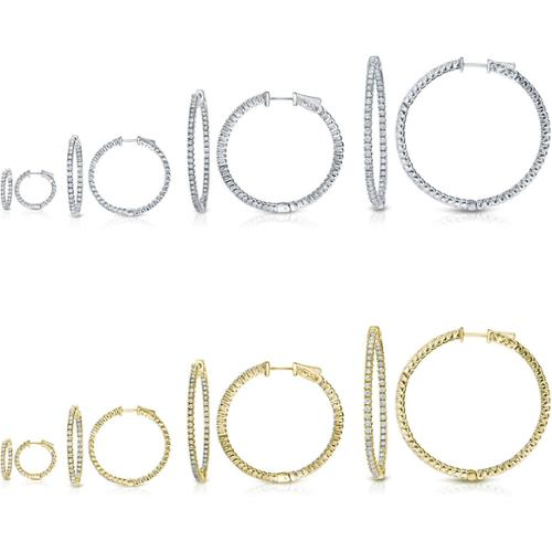 Auriya 14k Gold Small to Large Inside Out Diamond Hoop Earrings (H-I, SI1-SI2) 2.0ct - Yellow