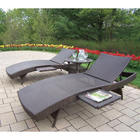 Oakland living elite all weather wicker chaise lounge set for All weather chaise lounge