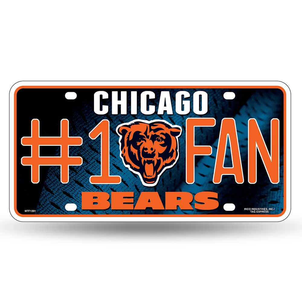 Chicago Bears NFL Metal Tag License Plate (#1 Fan)