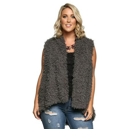 0c25467184 Xehar - Xehar Women's Plus Size Warm Trendy Faux Fur Fuzzy Vest Coat ...