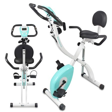 Smart Stationary Exercise Bike - Digital Fitness Bicycle Pedal Trainer with Pulse Monitor, Fold-Away