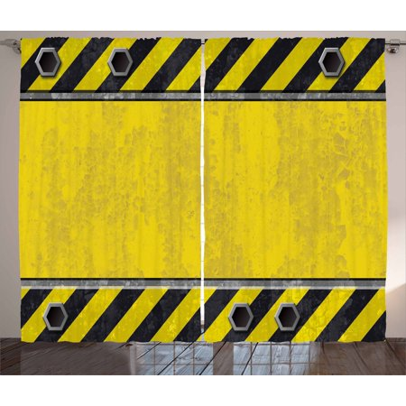 Construction Curtains 2 Panels Set, Under Construction Design Rusty Grunge Working Site Sign Rough Display, Window Drapes for Living Room Bedroom, 108W X 108L Inches, Yellow Green Black, by