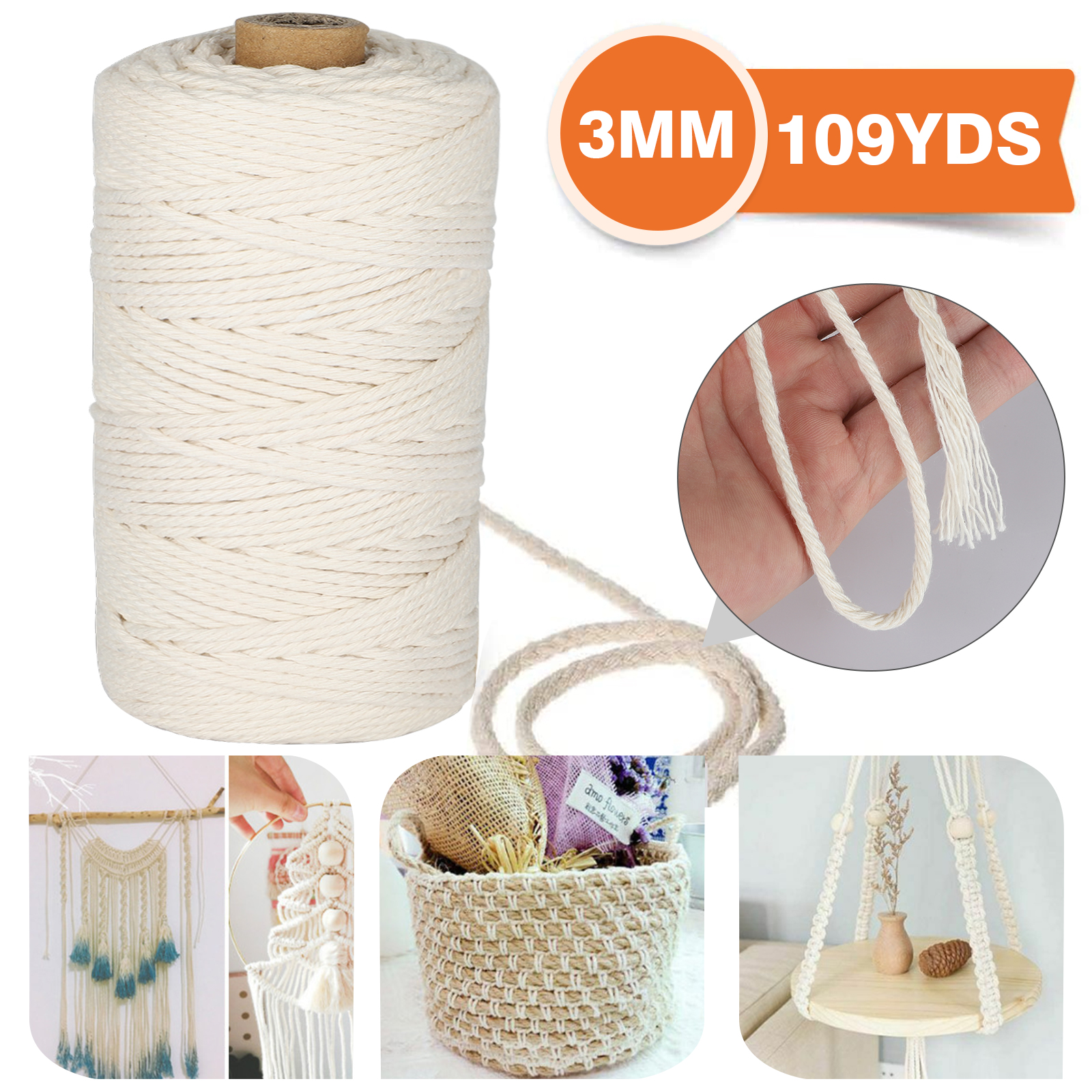 3mm x 109Yards Macrame Cord Thick Natural Cotton Macrame Rope Knitting Plant Hanger 4 Strand Twisted Cotton Cord Rope for Soft Macrame Natural Color Handmade Wall Hanging Decorative Project Craft