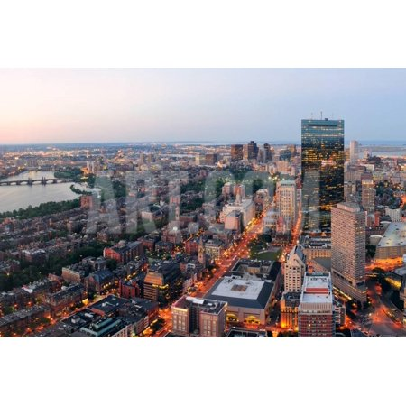 f5b4bf61d299 Urban City Aerial Panorama View. Boston Aerial View with Skyscrapers at  Sunset with City Downtown S Print Wall Art By Songquan Deng