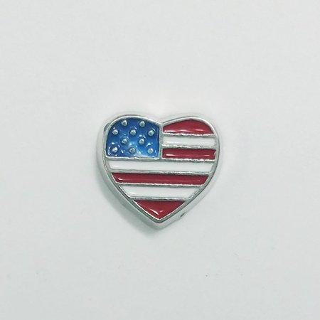 1 PC - Heart American Flag Enamel Silver Charm for Floating Locket Jewelry F0338