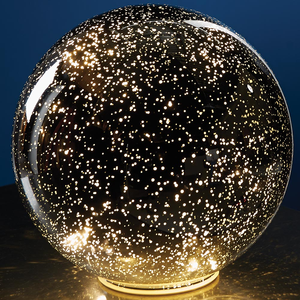 Lighted Mercury Glass Sphere Gazing Ball Battery Powered by OKEY-LA INTERNATIONAL LTD