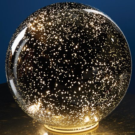 Lighted Mercury Glass Sphere Gazing Ball - Battery Powered (Mercury Glass Bell)
