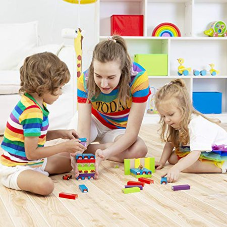 Lewo colored Stacking game Wooden Building BlocksTower Board games for Kids Adults 54 Pieces (colorful Stacking gane) - image 4 of 4