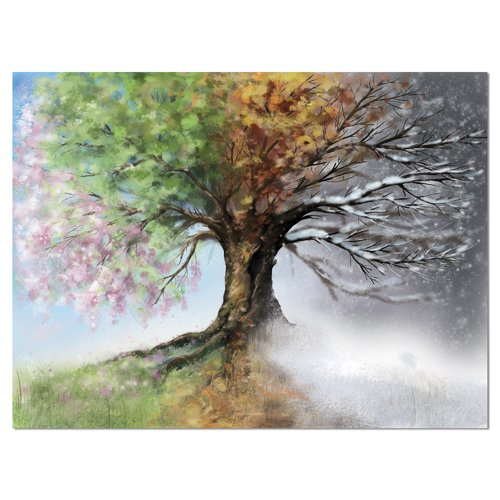 Design Art 'Tree with Four Seasons' Painting Print on Wrapped Canvas
