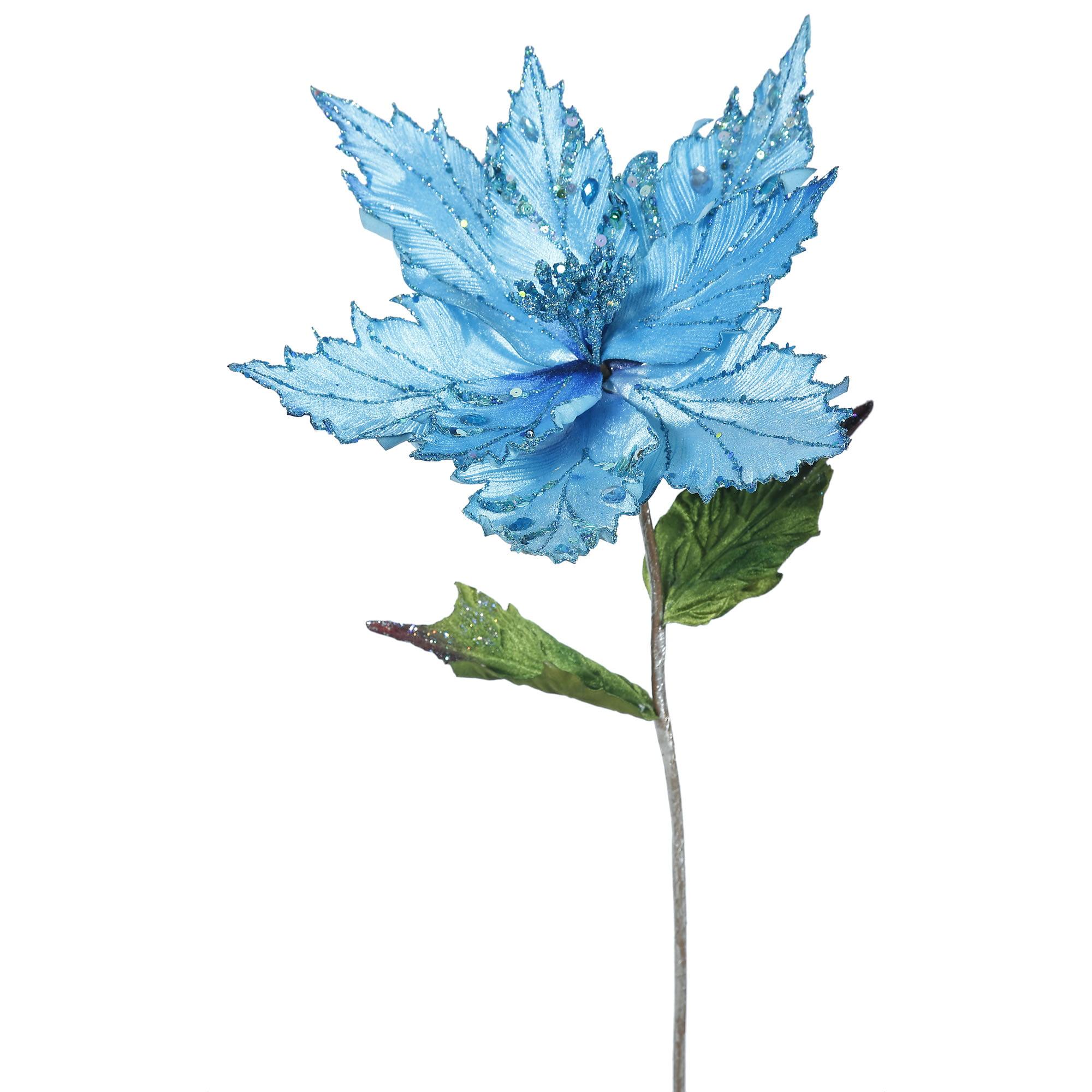 "Vickerman 26"" Sky Blue Poinsettia, 13"" Flower 3/Ba"