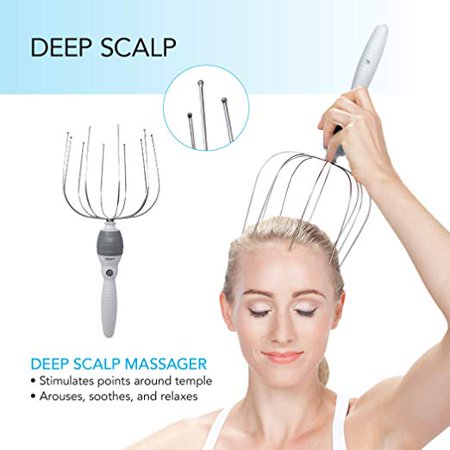 Lymphatic System Head And Neck - U.S. Jaclean USJ-625 Felicity 5-in-1 Vibrating Massage System; Standard Head and Body Massager is Specially Designed To Stimulate Nerve Endings on Your Scalp, Temples, and Neck