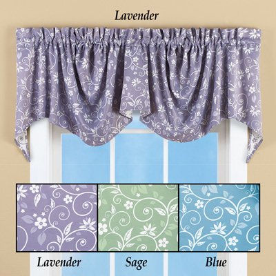 Oval Floral Scroll (Floral Scroll Draped Window Valance Lavender)