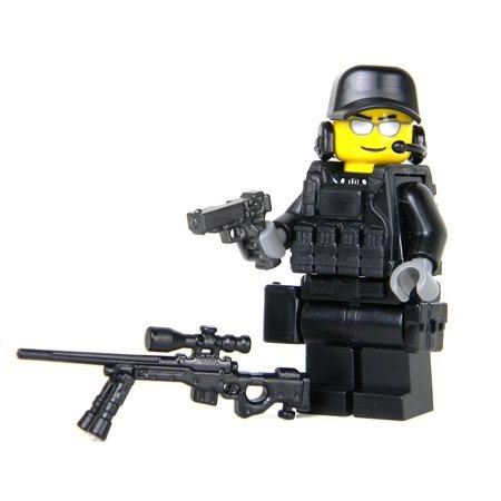 Police SWAT Team Sniper- Battle Brick Custom Minifigure - Swat Team Helmet