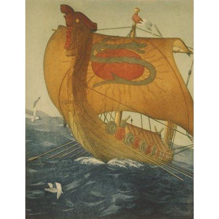 The Dragon Ship Viking Ship At Sea Etching By John Taylor Arms 1922 History