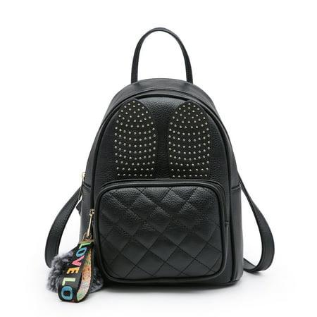 79b0c4cbff96 Mini Leather Backpack, POPPY Girls Rabbit Ear Cute Small Backpack Purse for  Women Fashion Shoulder Bag, Black