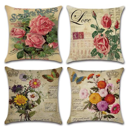 Tayyakoushi Decorative Cotton Linen Set of 4 Throw Pillow Cushion Covers 18 x 18 inch for Sofa, Bench, Bed, Auto Seat (Rose Flower Pattern)