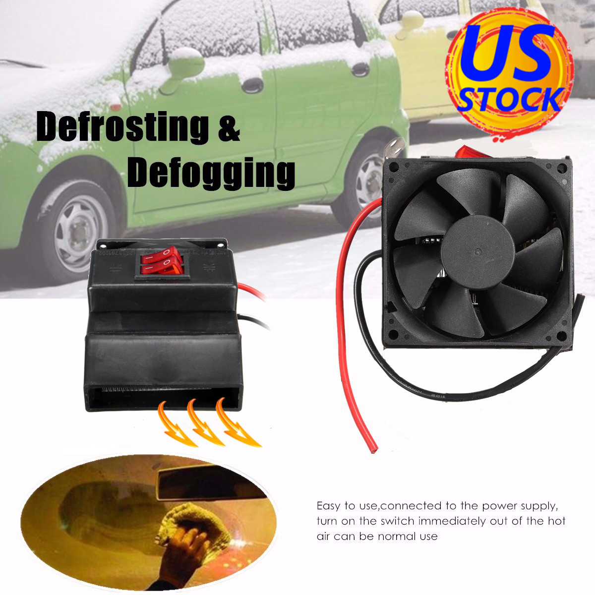 DC 12V 300W Auto Car Heating Fan Heater Air Warmer Windscreen Defroster Demister